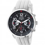 Accurist Acctiv Chronograph Black Dial White Rubber Strap Mens Watch MS1020BW
