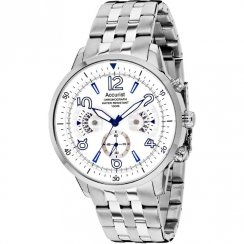 Accurist Acctiv white dial chronograph stainless steel bracelet Mens watch MB1020W
