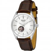 Accurist Automatic Silver Dial Brown Leather Strap Mens Watch MS907S