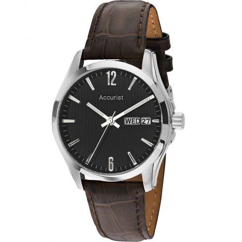 Accurist Black Dial Brown Leather Strap Gents Watch MS987B
