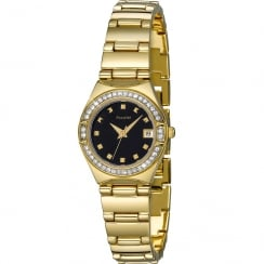 Accurist Black Dial Gold Bracelet Ladies Watch LB1660B