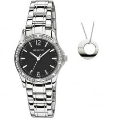 Accurist Black Dial Ladies Bracelet Watch with Pendant Gift LB1744BP