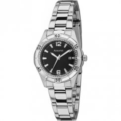 Accurist Black Dial Stainless Steel Bracelet Ladies Watch LB1674B