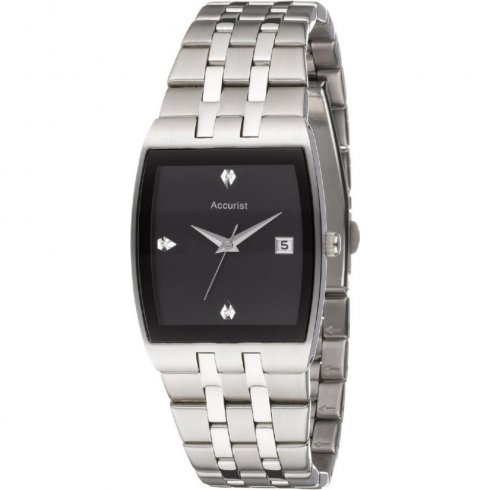 Accurist black dial stainless steel bracelet Mens watch MB773B