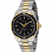 Accurist Black Dial Two Tone Gold Bracelet Gents Watch MB905B