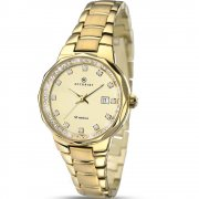 Accurist Champagne Dial Gold Bracelet Ladies Watch 8015