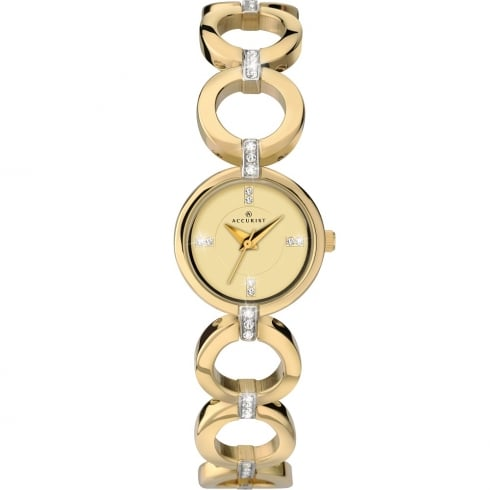 Accurist Champagne Dial Gold Bracelet Ladies Watch 8058