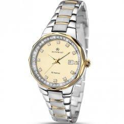 Accurist Champagne Dial Two Tone Gold Bracelet Ladies Watch 8016