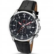 Accurist Chronograph Black Dial Black Leather Strap Gents Watch 7004