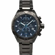 Accurist Chronograph Blue Dial Black Bracelet Gents Watch 7182