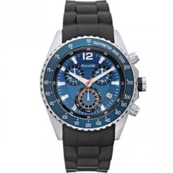 Accurist Chronograph Blue Dial Black Resin Strap Gents Watch MS710N