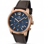 Accurist Chronograph Blue Dial Brown Leather Strap Gents Watch 7021
