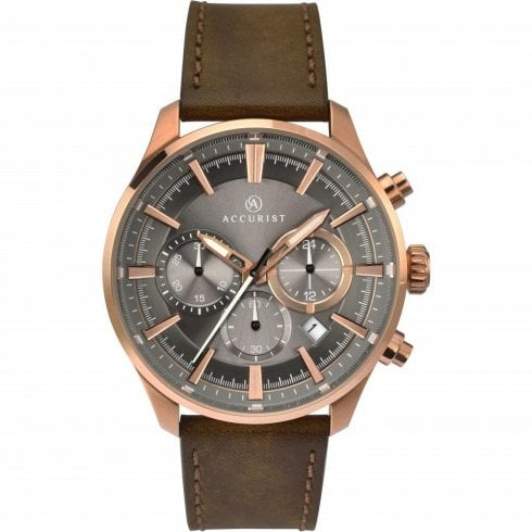 Accurist Chronograph Grey Dial Brown Leather Strap Gents Watch 7195