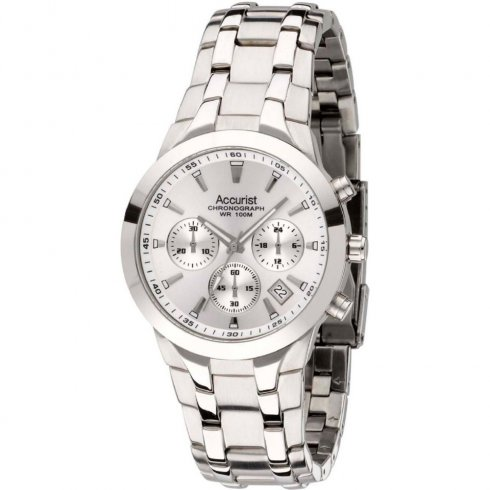 Accurist Chronograph silver dial stainless steel bracelet Mens watch MB1060S