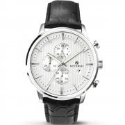 Accurist Chronograph White Dial Black Leather Strap Gents Watch 7032