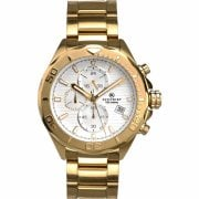 Accurist Chronograph White Dial Gold Bracelet Gents Watch 7181
