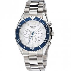 Accurist Chronograph White Dial Stainless Steel Bracelet Gents Watch MB946NW