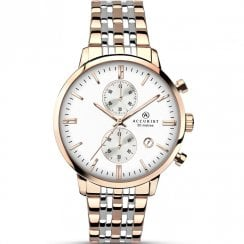 Accurist Chronograph White Dial Two Tone Bracelet Gents Watch 7083