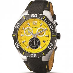 Accurist Chronograph Yellow Dial Black Leather Strap Gents Watch MS832Y