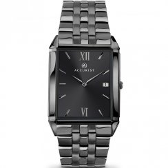 Accurist Classic Black Dial Gun Metal Bracelet Gents Watch 7063