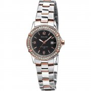 Accurist Classic Black Dial Stainless Steel Bracelet Ladies Watch LB1546B