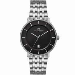 Accurist Classic Black Dial Titanium Bracelet Gents Watch 7172