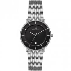 Accurist Classic Black Dial Titanium Bracelet Ladies Watch 8172