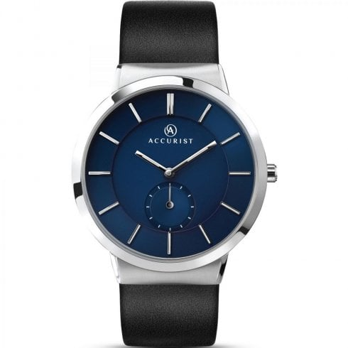 Accurist Classic Blue Dial Black Leather Strap Gents Watch 7100