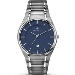 Accurist Classic Blue Dial Titanium Bracelet Gents Watch 7138