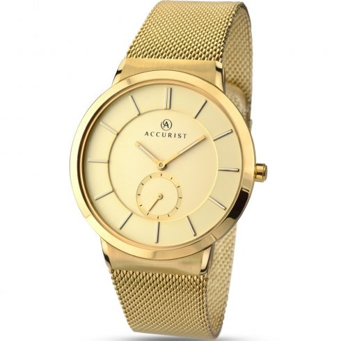 Accurist Classic Champagne Dial Gold Mesh Bracelet Gents Watch 7015