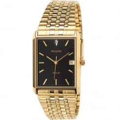 Accurist Classic Diamond Black Dial Gold Bracelet Gents Watch MB955B
