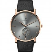 Accurist Classic Grey Dial Black Leather Strap Gents Watch 7127