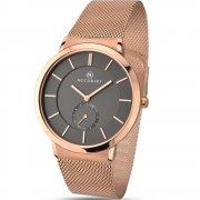 Accurist Classic Grey Dial Rose Gold Mesh Bracelet Gents Watch 7016