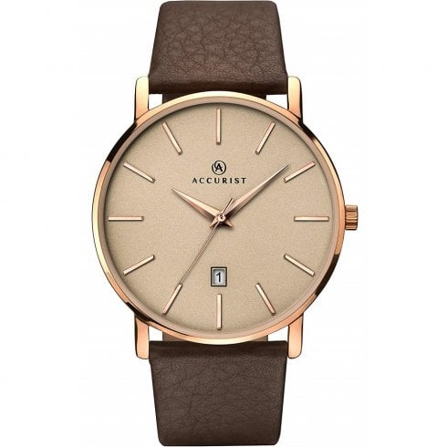 Accurist Classic Rose Gold Dial Brown Leather Strap Gents Watch 7166