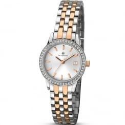 Accurist Classic Silver Dial Rose Gold 2 Tone Bracelet Ladies Watch 8059