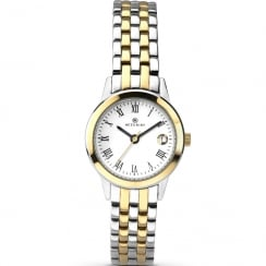 Accurist Classic White Dial 2 Tone Bracelet Ladies Watch 8045