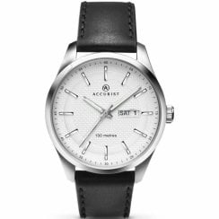 Accurist Classic White Dial Black Leather Strap Gents Watch 7135