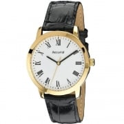 Accurist Classic White Dial Black Leather Strap Gents Watch MS675WR