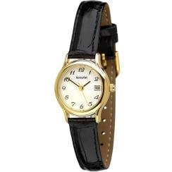 Accurist Classic White Dial Black Leather Strap Ladies Watch LS630