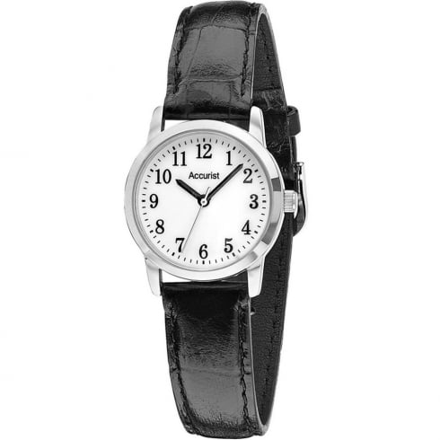 Accurist Classic White Dial Black Leather Strap Ladies Watch LS674WA