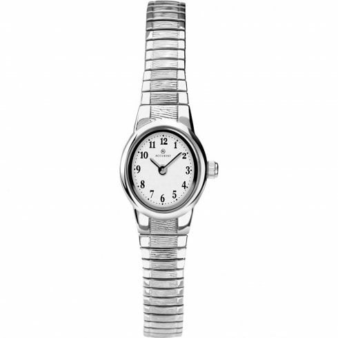 Accurist Classic White Dial Chrome Expander Ladies Watch 8122