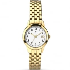 Accurist Classic White Dial Gold Bracelet Ladies Watch 8046