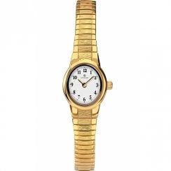 Accurist Classic White Dial Gold Expander Ladies Watch 8166
