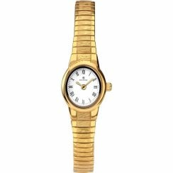 Accurist Classic White Dial Gold Expander Ladies Watch 8167