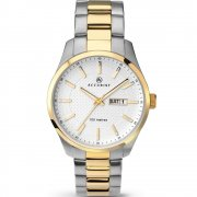 Accurist Classic White Dial Two Tone Gold Bracelet Gents Watch 7057