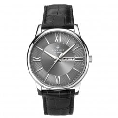 Accurist London Grey Dialled Gents Chrome Case Leather Strap Watch 7189