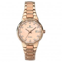 Accurist London Ladies Rose Gold Plated Stone Set Bracelet Watch 8017