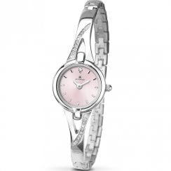 Accurist Pink Dial Semi Bangle Bracelet Ladies Watch 8038