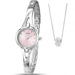 Accurist Pink Dial Semi Bangle Ladies Watch with Crystal Ball Pendant Gift Set LB1767P