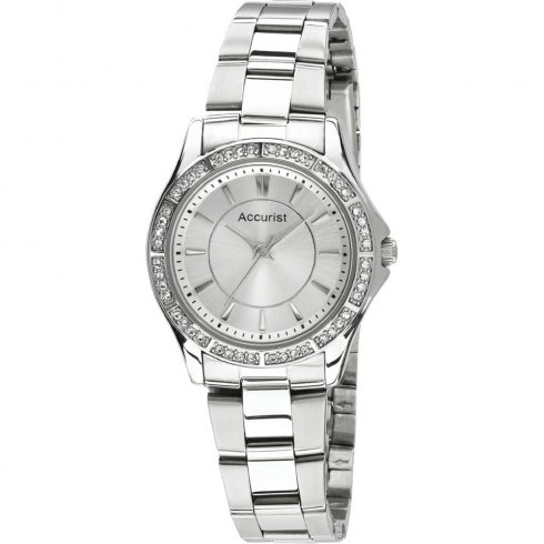 Accurist Silver Dial Chrome Stainless Steel Bracelet Ladies Single